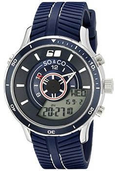 Men's Wrist Watches - SOCO New York Mens 50352 Monticello AnalogDigital Display Navy  Rubber Strap Watch >>> Want additional info? Click on the image. (This is an Amazon affiliate link)