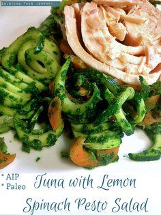 Tuna with Lemon Spinach Pesto Salad #AIP #autoimmuneprotocol #paleo | Enjoying this Journey...