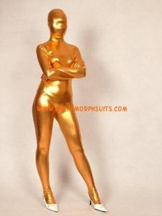 Full Body Unisex Shiny Metallic Gold Morphsuit Zentai Suit