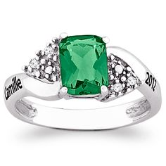 Buy Sterling Silver Emerald-Cut Class Ring with Genuine Diamond Accents at Limoges