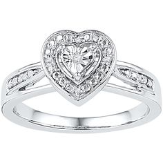 Diamond Heart Promise Ring in Sterling Silver ($55) ❤ liked on Polyvore featuring jewelry, rings, white, heart band ring, diamond jewelry, heart ring, heart jewelry and heart shaped rings