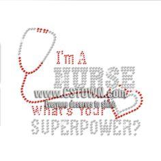 Nurse Superpower Kind Heart Iron on Rhinestone Transfer