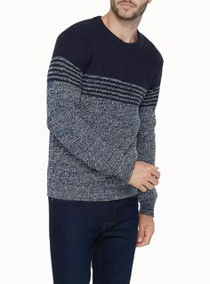 Private Member at Le 31 for men Mixed stitch patterns interpreted in a combination of graphic blocks Crew neck design Soft and thick ribbed wool The model is wearing size medium Winter Mode Outfits, Winter Fashion Outfits, Sweater Fashion, Men Sweater, Fashion Fashion, Jumper, Fashion Ideas, Half Sleeve Shirts, Shirt Sleeves