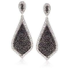 "Ross-Simons 1.25ct t.w. Pave Black, White Diamond Drop Earrings in Gold. 1"""""