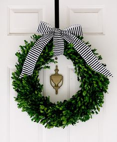 Boxwood wreath tied with a bow. Boxwood wreath tied with a bow. Noel Christmas, Winter Christmas, All Things Christmas, Christmas Crafts, Christmas Decorations, Xmas, Holiday Decorating, Preppy Christmas, Nautical Christmas