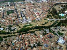 Pamplona inundada 9/6/2013. Río Arga a su paso por el barrio Rochapea.