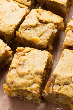 Pumpkin Blondies - an irresistible treat loaded w/ white chocolate chips, pecans, & seasonal spices! Make a batch & share them w/ the entire family! Pumpkin Recipes, Fall Recipes, Cookie Recipes, Dessert Recipes, Vegan Pumpkin, Healthy Pumpkin, Pumpkin Pumpkin, Pumpkin Spice, Baking Recipes