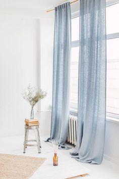 Light Blue Linen Curtain / Blue Linen Window Drape Our natural linen curtains will enrapture you wit