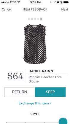 Stitch Fix Daniel Rainn Poppins Crochet Trim Blouse in Black and White Polka Dot. I love Stitch Fix! A personalized styling service and it's amazing!! Simply fill out a style profile with sizing and preferences. Then your very own stylist selects 5 pieces to send to you to try out at home. Keep what you love and return what you don't. Only a $20 fee which is also applied to anything you keep. Plus, if you keep all 5 pieces you get 25% off! Free shipping both ways. Schedule your first fix…