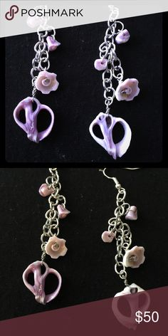 Handmade Hawaiian Earrings Handmade by me. These shell earrings are white and lavender. Super cute, you can dress them up or down. Made to order. Jewelry Earrings