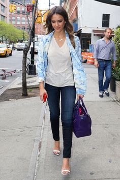 Jean Queens: Spring is in full bloom for Jessica Alba in this chic denim look. She lightens up classic dark denim with this powder blue floral Tibi Daisies jacket and a delicate white sandal