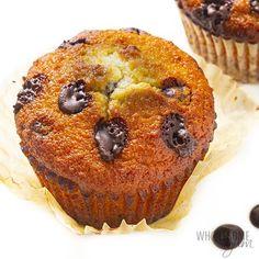 Keto Chocolate Chip Muffins Recipe | Wholesome Yum Sugar Free Dark Chocolate, Keto Chocolate Chips, Low Carb Chocolate, Chocolate Chip Muffins, Keto Muffin Recipe, Simple Muffin Recipe, Muffin Recipes, Keto Breakfast Muffins, Keto Blueberry Muffins