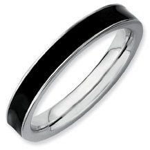 Peaceful Joy Silver Stackable Black Enamel Band. Sizes 5-10 Available Jewelry Pot. $21.99. 100% Satisfaction Guarantee. Questions? Call 866-923-4446. Fabulous Promotions and Discounts!. 30 Day Money Back Guarantee. Your item will be shipped the same or next weekday!. All Genuine Diamonds, Gemstones, Materials, and Precious Metals