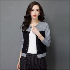 2015 high quality autumn winter sweater women cardigan sweater spell color loose double breasted women's cashmere sweater