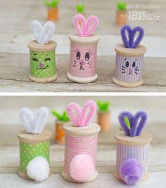 Easter Bunny Craft: Thread Spool Bunnies