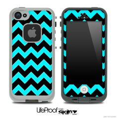 Black/Turquoise Chevron Pattern Skin for the iPhone 5 or 4/4s LifeProof Case - LOVE !!!!!!!!!!!!