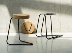 cork furniture, cork stool with metal base, natural furniture materials