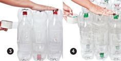 Junte 4 fileiras de garrafas