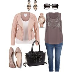 pink moto jacket, sequin top, michael kors watch, american eagle flats, statement earrings, sunglasses, boyfriend jeans, all in plus size