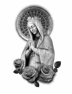 Mary Tattoo, Jesus Tattoo, Religious Tattoos, Religious Art, God Tattoos, Body Art Tattoos, Tattoo Chicana, Jesus Christ Drawing, La Pieta