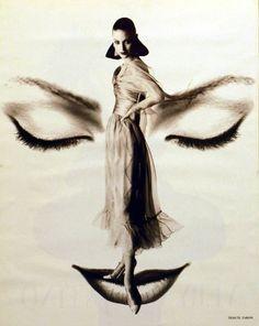 Innovative fashion photography.   Photographer: Satoshi Saïkusa  Shalom Harlow, circa 1993  Valentino, Falll 1993 Couture