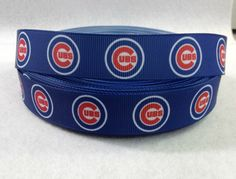 7/8 Chicago Cubs Grosgrain Ribbon by ribbonandmoregalore on Etsy