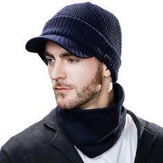 3c83d563770 Amazing offer on SIGGI Mens Wool Knit Visor Beanie Winter Hat Scarf Sets  Fleece Mask Neck Warmer online