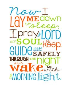 Now I Lay Me Down to Sleep Prayer - 8x10 print - Aqua, Orange, Lime Green and Brown on Etsy, $12.00