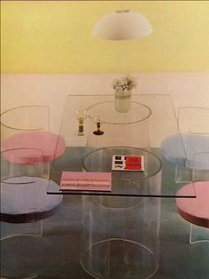 Clear acrylic has long been a popular material in home furnishings, as this photo from 1971 shows.