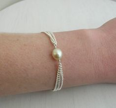 Freshwater Pearl Chained Bracelet by Sarah Hickey, the perfect gift for Explore more unique gifts in our curated marketplace. Pearl Necklace Wedding, Pearl Jewelry, Pearl Rings, Jewelry Bracelets, Jewellery, Handmade Bracelets, Handmade Jewelry, Beaded Bracelets, Pearl Necklaces