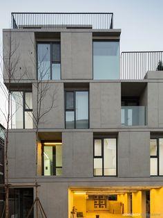 Dynamicness of Cube, Sadang-dong multi-family house Modern Architecture Design, Facade Design, Facade Architecture, Residential Architecture, Exterior Design, House Design, Building Exterior, Building Facade, Building Design