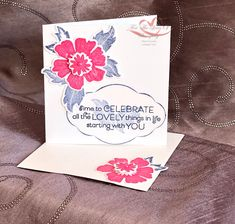 Everything is Rosy Created by Tracie St-Louis 2019 On Stage Quebec 3 x 3 that goes with the mini pizza box Everything's Rosie, Card Kit, Stamping Up, Stampin Up Cards, Projects To Try, Product Launch, Bloom, Presents, Create