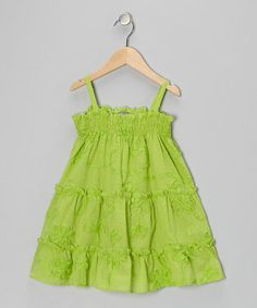 Take a look at this Green Flower Swirl Tiered Dress - Infant & Toddler by Petit Confection on #zulily today!