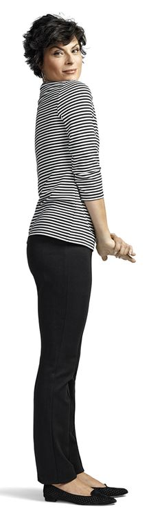 Nicely fitted in seat and thighs  Side-zip ponte knit pant with a straight leg.