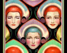 Whimsical Art Deco Theatre Cover Poster W.T. Benda Costume Masks Stage Drama Beautiful Girls Headdresses 1923 Giclee Fine Art Print 12x18