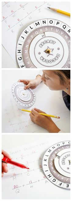 Use this FREE DIY printable decoder wheel to send & receive secret messages without anyone being the wiser. A great resource for teachers and homeschoolers for spelling practice, math, writing activities, word work, etc. Also makes a wonderful addition to Writing Activities, Activities For Kids, Crafts For Kids, Math Writing, Spelling Activities, Math Math, Party Activities, Sensory Activities, Indoor Activities