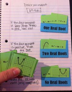 interactive notebook sorting pockets - discriminant for quadratics