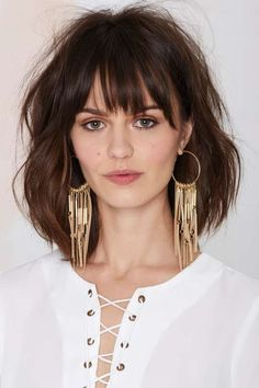 Angelina Suede Hoop Earrings at Nasty Gal Medium Hair Styles, Short Hair Styles, Corte Y Color, Haircut And Color, Great Hair, Hair Lengths, Bob Hairstyles, Hair Trends, New Hair