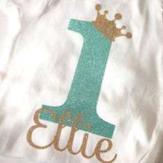 Personalized 1st Birthday shirt bodysuit crown first by babyfables