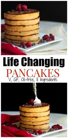 Vegan Life Changing Pancakes. Vegan, gluten-free, oil-free, fluffy, moist, dairy-free, egg-free made with almond flour and sweet potatoes.