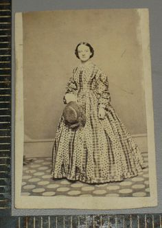 CDV Civil War era Woman Patterned Dress Straw Hat with Feather