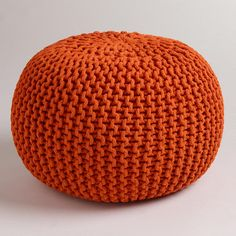 $79.99  One of my favorite discoveries at WorldMarket.com: Jafra Orange Knitted Pouf  16'' diam x 20'' heigh