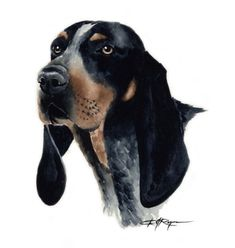 BLUETICK COONHOUND Dog Art Print Signed by Artist DJ Rogers