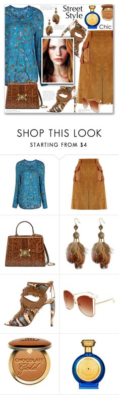 """""""Chic Street Style"""" by jecakns ❤ liked on Polyvore featuring Prada, Gucci, Aquazzura, Too Faced Cosmetics and Boadicea the Victorious"""