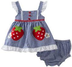 Amazon.com: Youngland Baby-Girls 2 pc Set Infant Strawberry Seersucker Sundress: Clothing