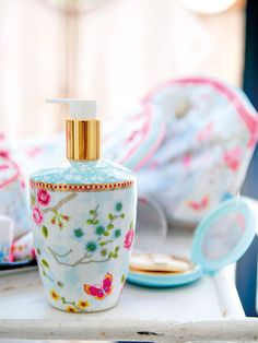 Pip studio set of 3 white floral bathroom accessories From Only Chinese Blossom, White Bathroom Accessories, Pip Studio, Chinese Garden, Bathroom Inspiration, Decoration, Soap Dispenser, Pink Blue, Sweet Home