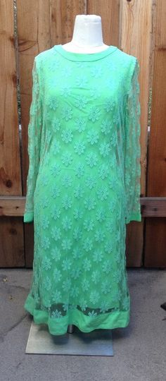 Vintage 1960s Green flower and lace dress by PIXIE (Sue Webb of California)
