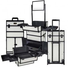 REBEL Series Pro Makeup Artists Rolling Train Case Trolley Case - Ghostly White