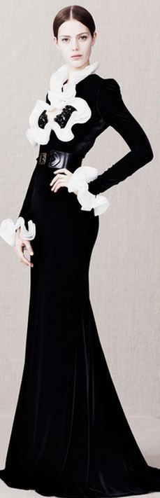Alexander McQueen Pre-Fall 2013 black and white long sleeve gown with ruffles