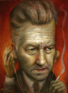 """""""Bureau Chief Gordon Cole"""" by Chris Mars - 10"""" x 8"""" oil on board. From the Twin Peaks: Fire Walk With Me 20th Anniversary group art exhibition at the Copro Nason Art Gallery, Santa Monica, CA April/May 2012."""